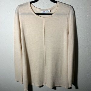 VINEYARDVINES Womens Large Cream Cashmere Top